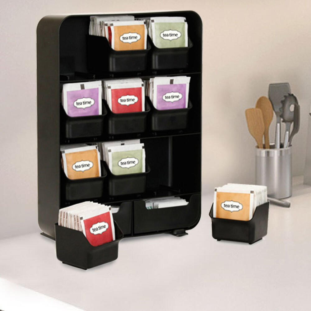 tea bag storage box condiment organizer display chest holder compartment kitchen ebay. Black Bedroom Furniture Sets. Home Design Ideas