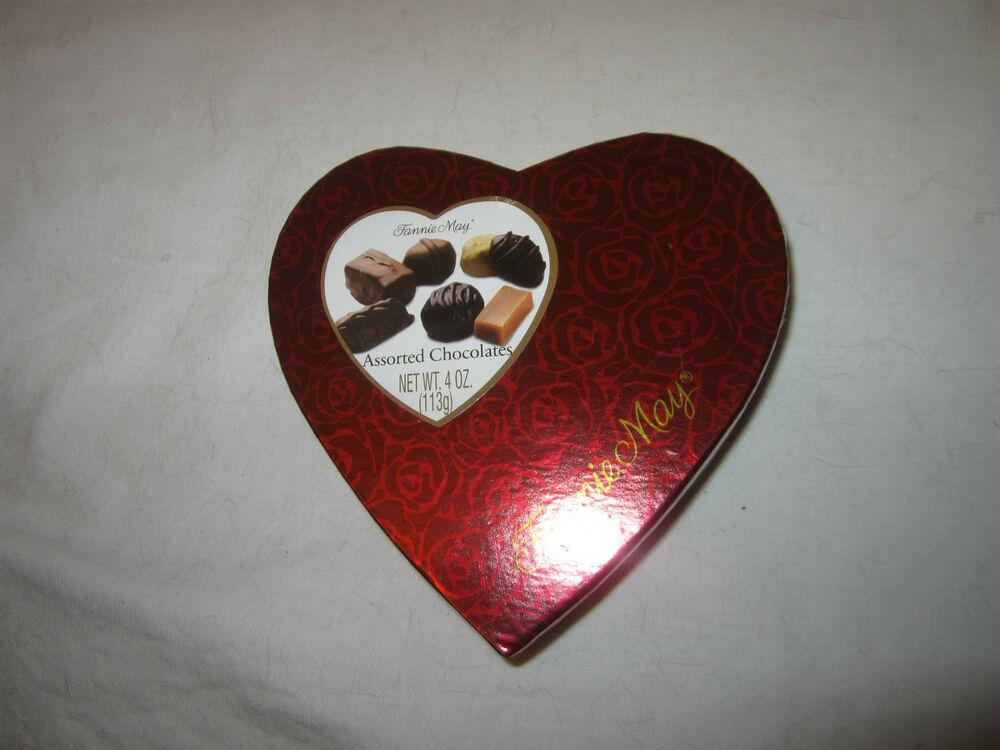 Fannie May Fine Chocolates Red Heart Shaped Candy Box Rose