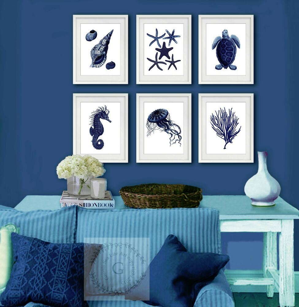Navy Blue Sea Life Coastal Wall Decor set of 6 Beach Home ...