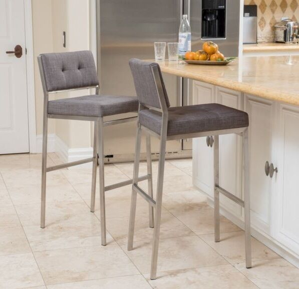 Modern Square Gray Fabric Seat Bar Stool High Counter