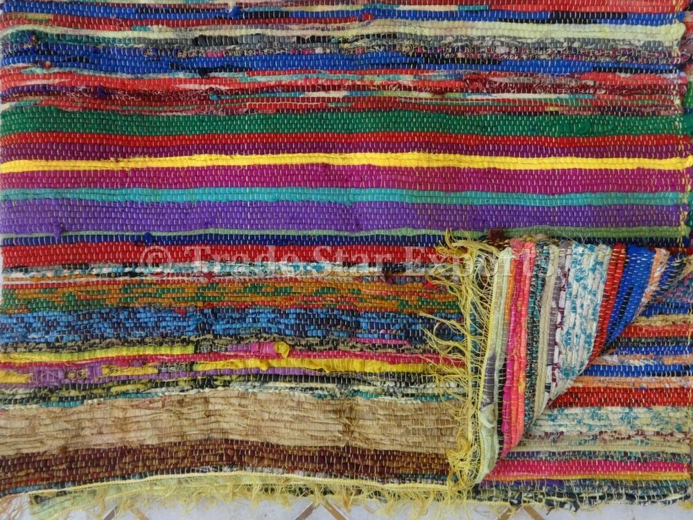 Indian 4x6 rag rug hand loomed reversible carpet oriental for Throw rug on top of carpet