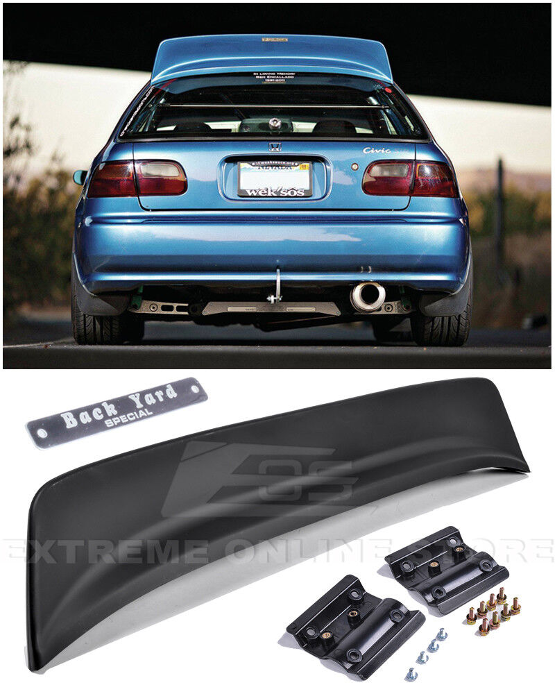 for 92 95 honda civic 3dr bys style abs rear roof wing spoiler lip w bys emblem ebay. Black Bedroom Furniture Sets. Home Design Ideas