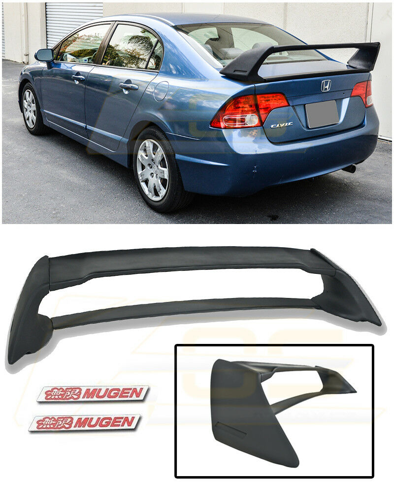 For 06 11 Civic 4dr Mugen Rr Rear Trunk Spoiler Abs