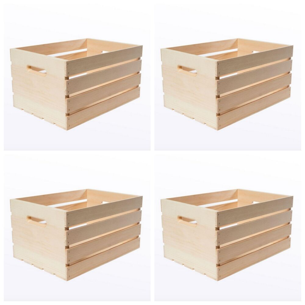 Decorative Boxes Uk: Large Wood Wooden Crate Box 4 Craft Storage Decorative