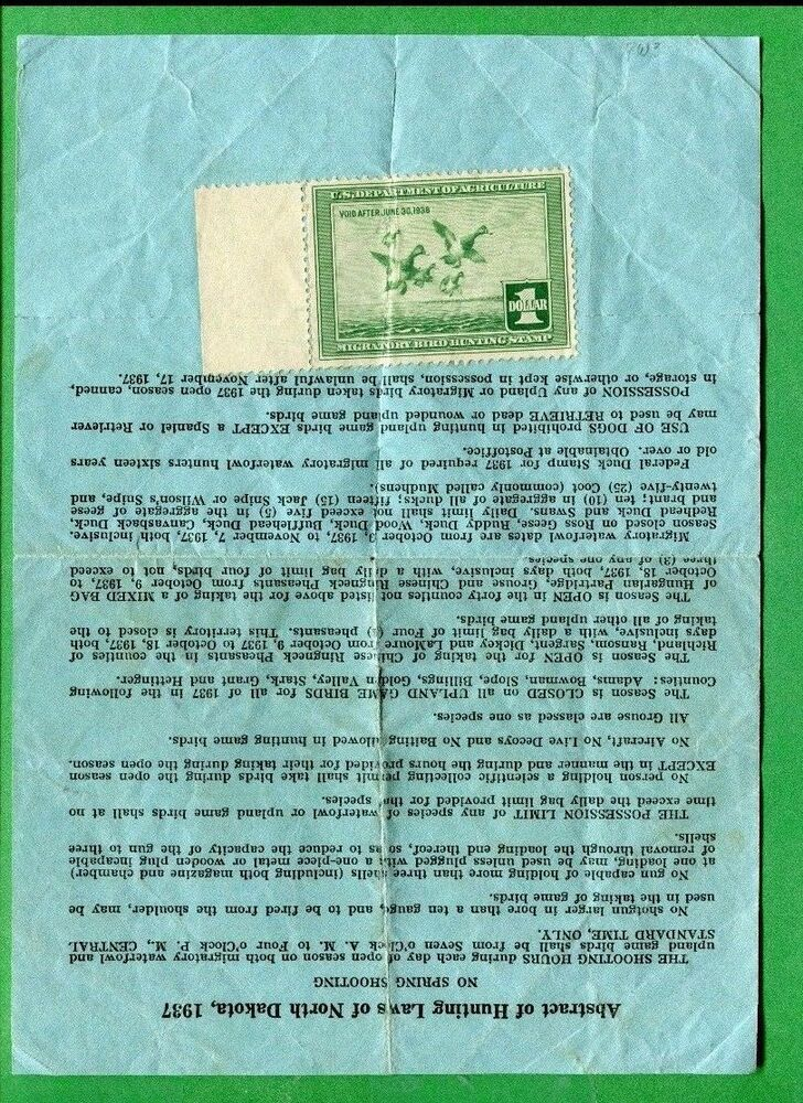 North Dakota 1937 Resident Hunting License Rw4 Federal