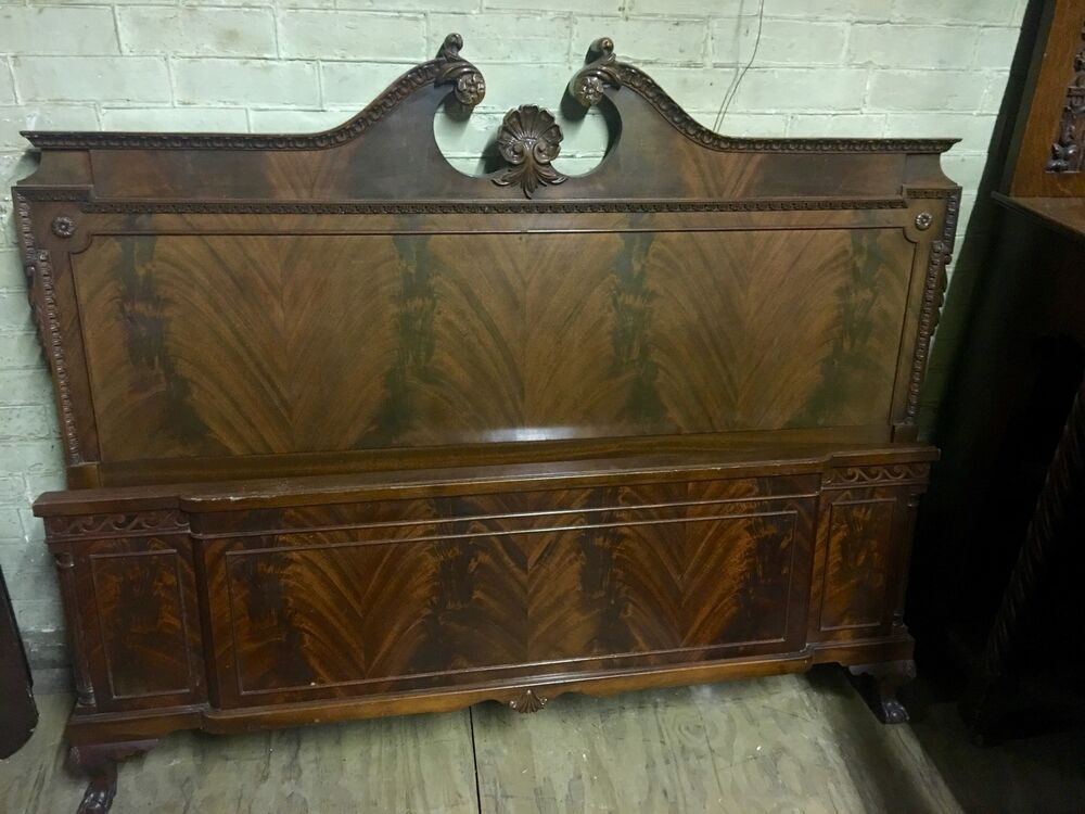 Outstanding 7 Pc Flame Mahogany Antique Bedroom Set W