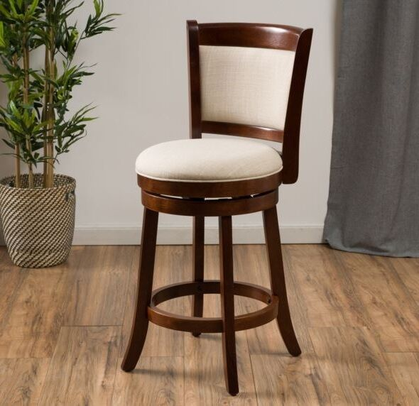 Modern 24 Inch Fabric Swivel Back Counter Height Stool Wood Bar Kitchen Chair Ebay