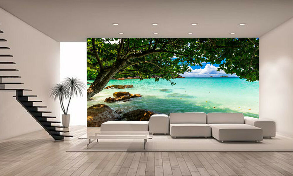 The seychelles beach wall mural photo wallpaper giant for Poster mural 4 murs