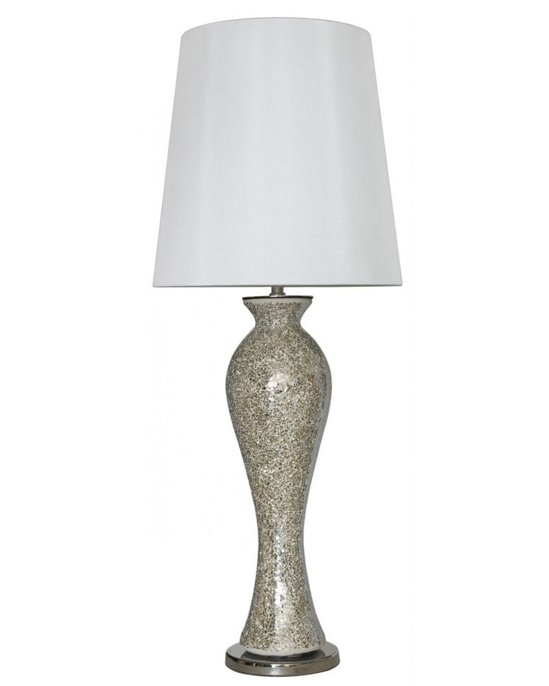 Stunning Mercury Mosaic Tall Curve Table Lamp With A White