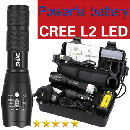 img-SHIXE 20000LM Tactical XM-L2 Zoomable LED Flashlight Military Grade Torch Lamp