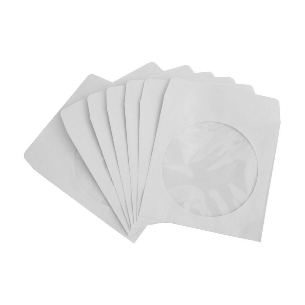 100 pack white cd dvd paper envelope sleeve w clear for 100 paper cd sleeves with window flap