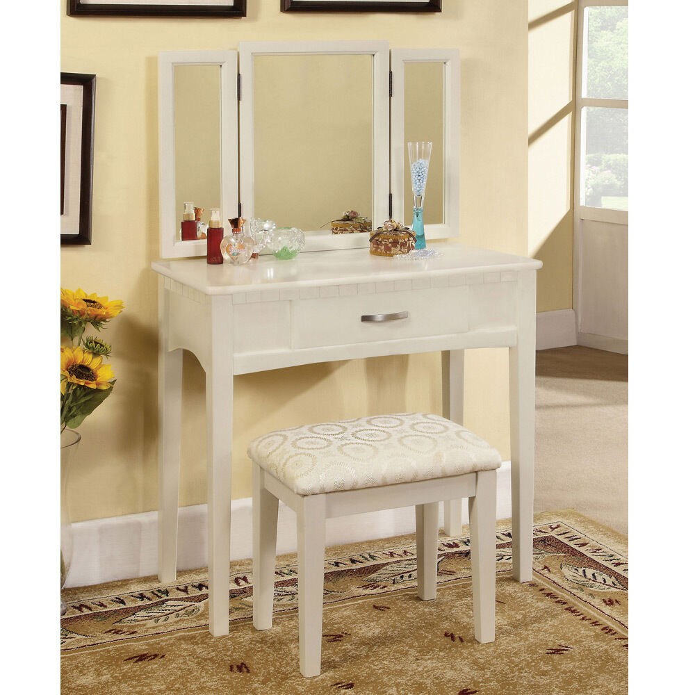 Potterville makeup vanity table tri folding mirror w for White makeup desk with mirror