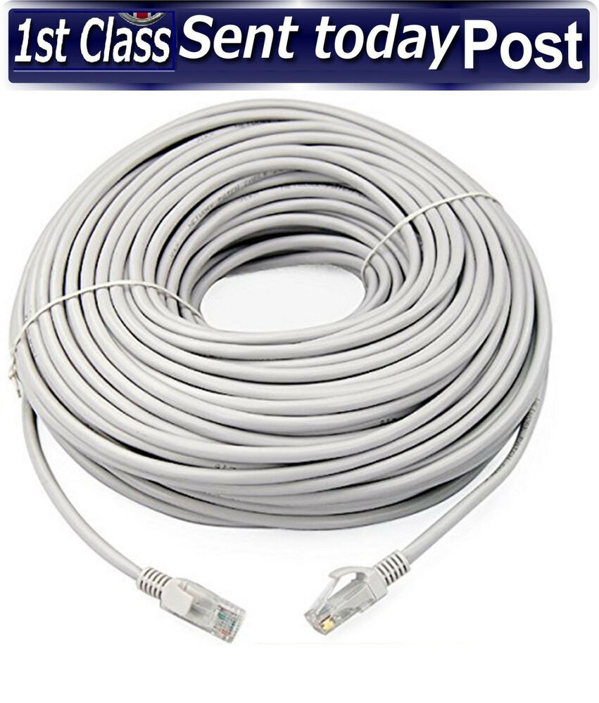 20m meter rj45 cat5e network lan cable utp ethernet patch lead white fast cat 5e ebay. Black Bedroom Furniture Sets. Home Design Ideas