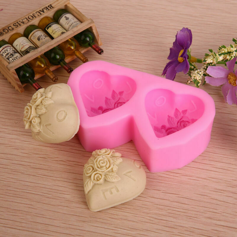 Valentine S Day Rose Heart Silicone Soap Diy Mold Cake