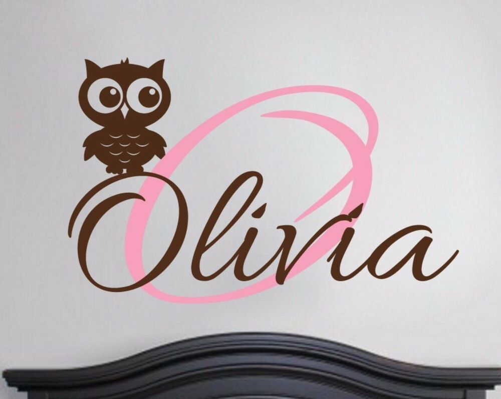 Owl Monogram Wall Decal Vinyl Sticker Monogram Baby Boy