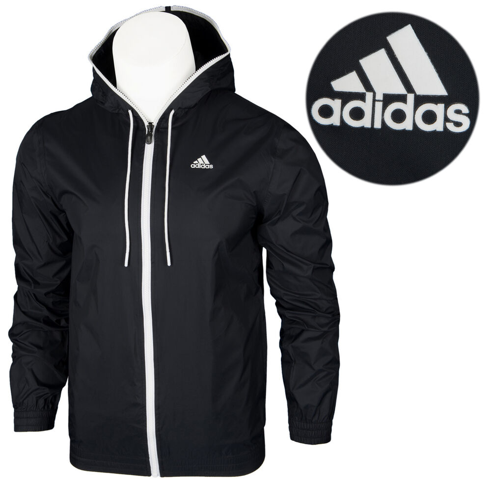 adidas wb 3s rain jacket herren regen jacke kapuze climaproof rv schwarz xs s ebay. Black Bedroom Furniture Sets. Home Design Ideas