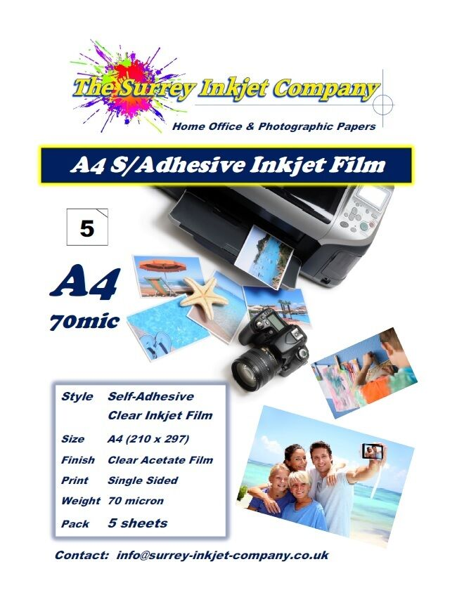 Clear A4 Self Adhesive Inkjet Sticker Label Film With