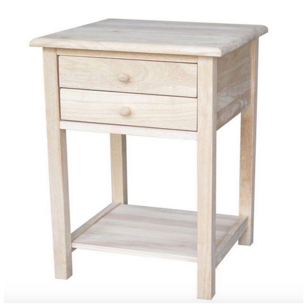 Unfinished Small Side Lamp End Table Night Stand Wood Accent