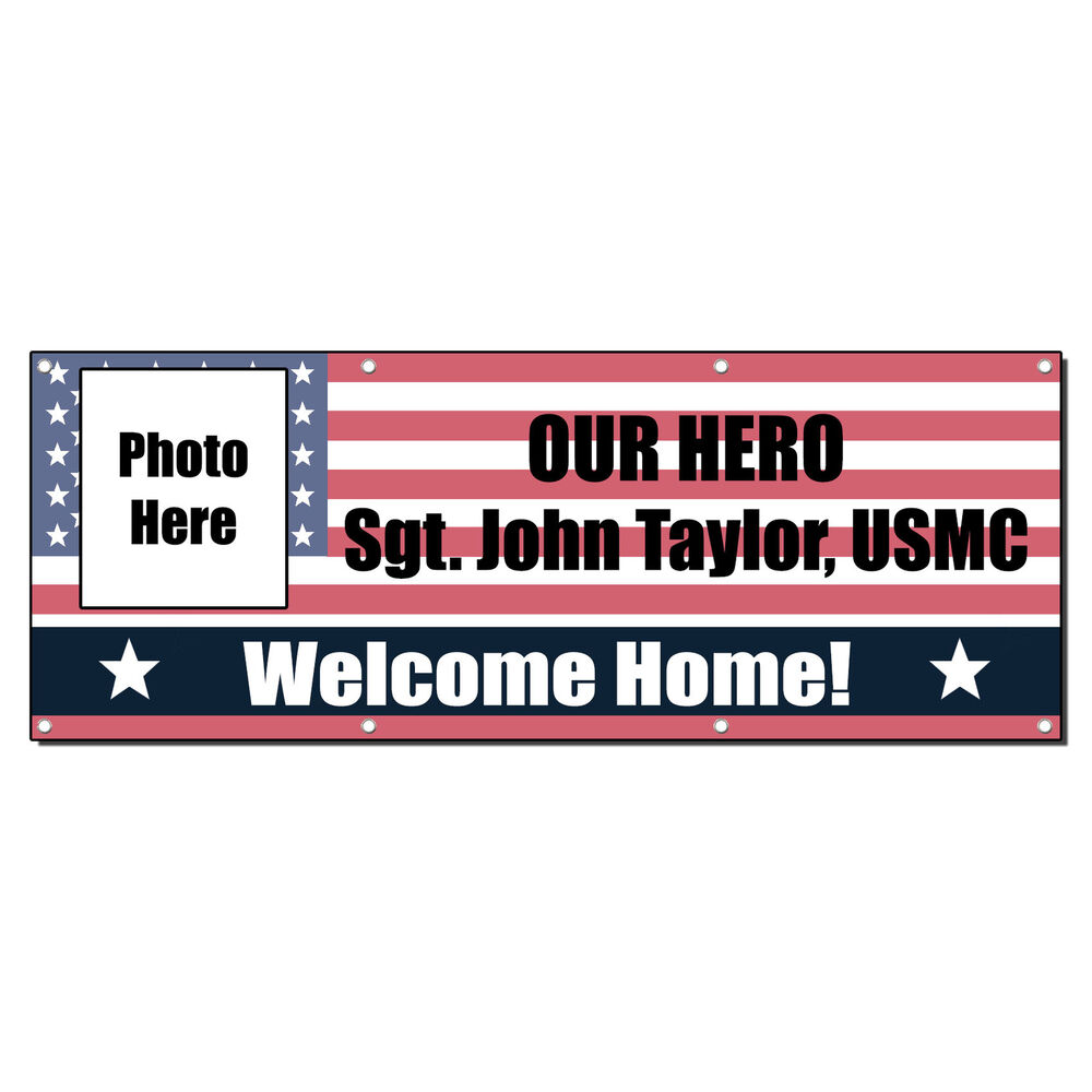 Welcome home hero custom name military 13 oz vinyl banner for Welcome home troops decorations