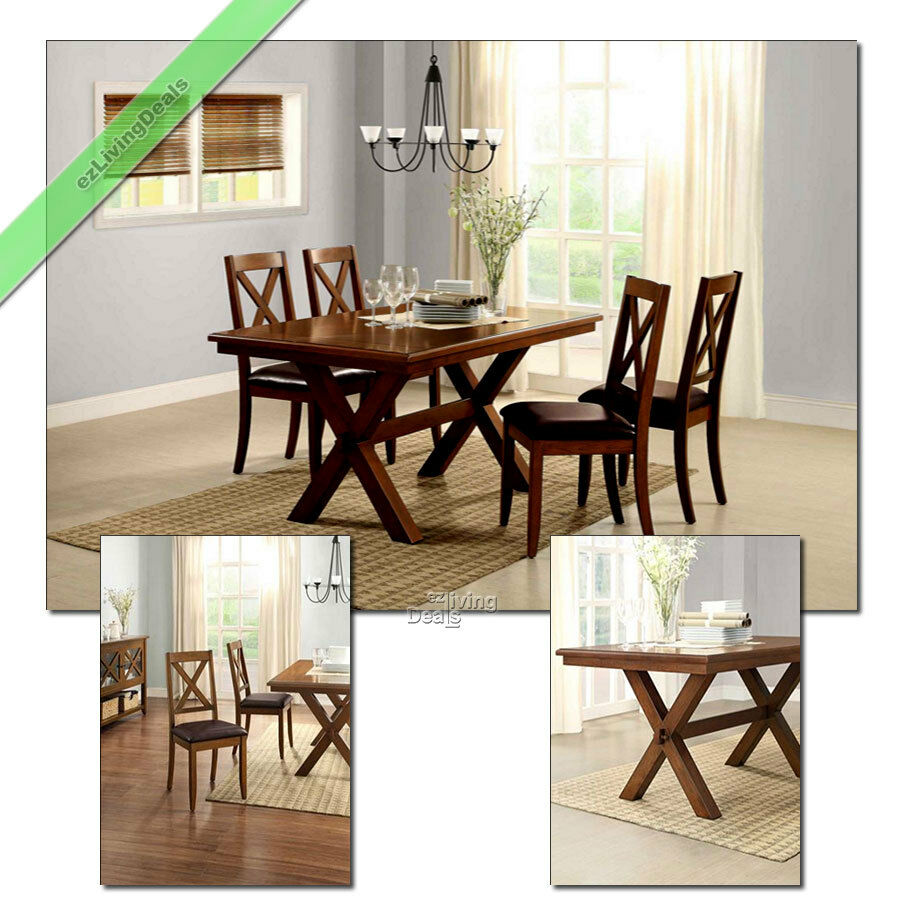 5 pc dining room set table chairs maddox crossing wood country tables sets for 4 ebay - Pc dining room set ...
