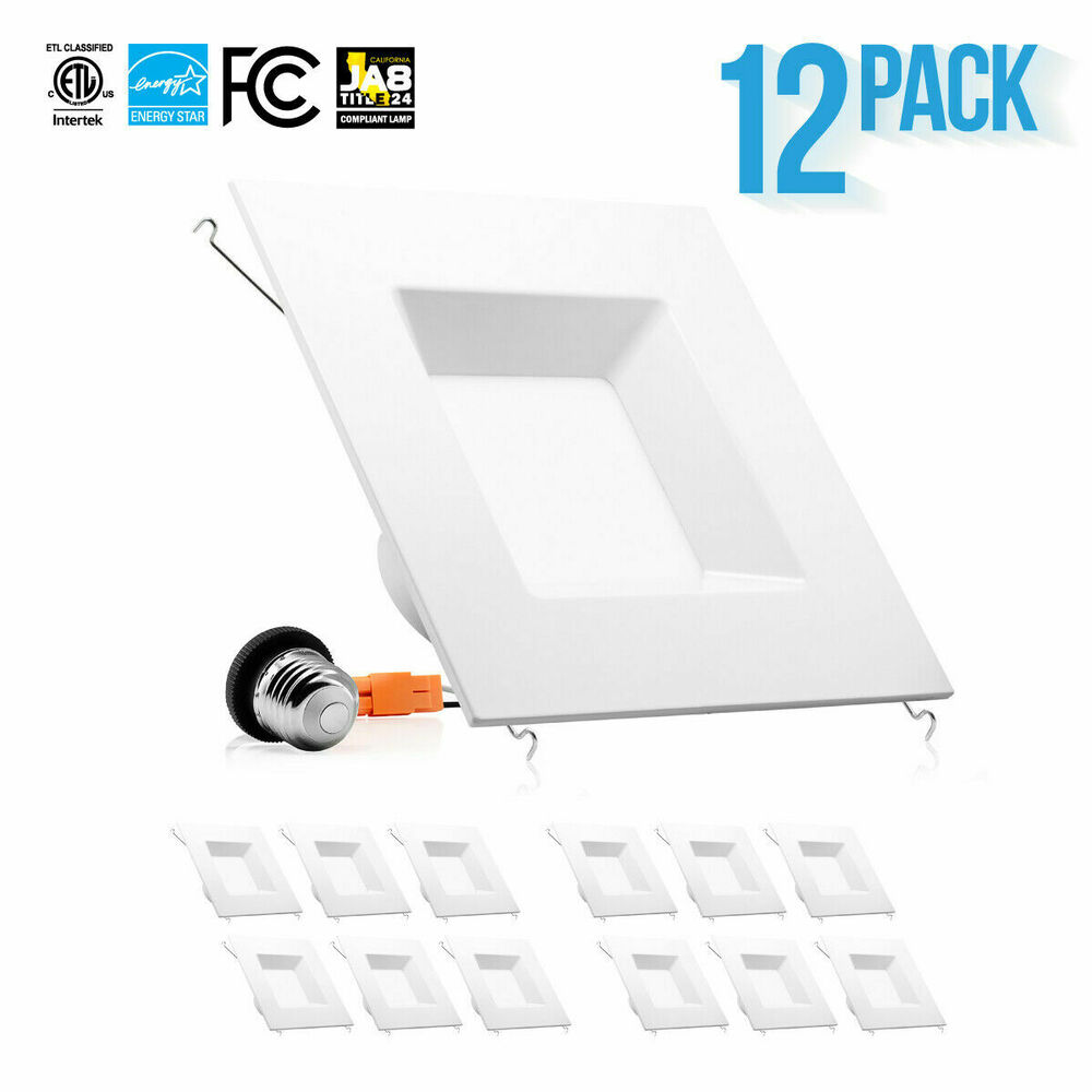 12 Piece Downlight Square Trim 6 Inch 15W LED Recessed Dimmable Retrofit Kit