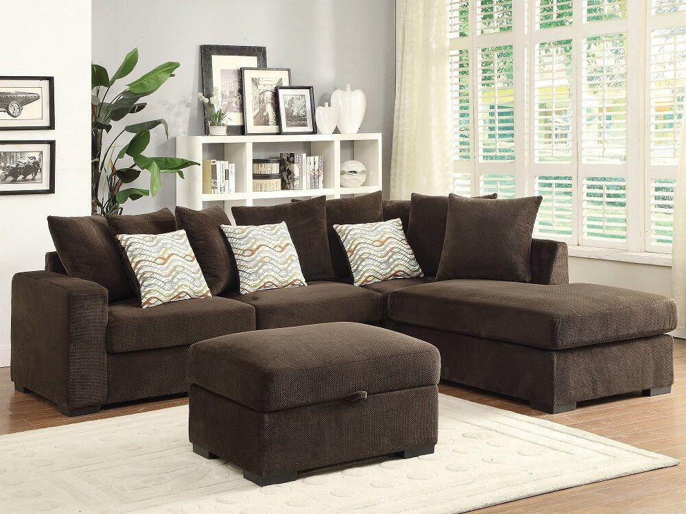 Chenille Fabric Chocolate 2Pcs Sectional Sofa Reversible Chaise Living Room  Home | EBay