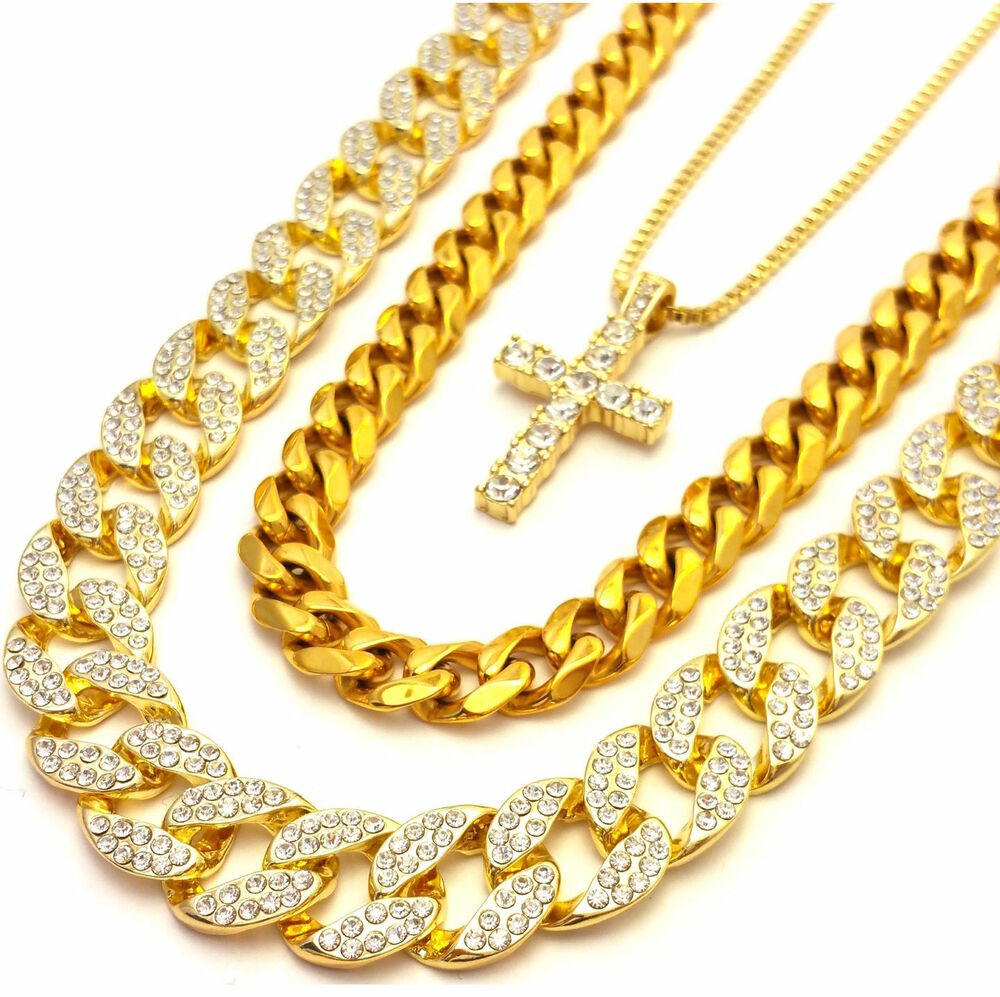 mens micro cross 3 chains set gold finish miami cuban link. Black Bedroom Furniture Sets. Home Design Ideas