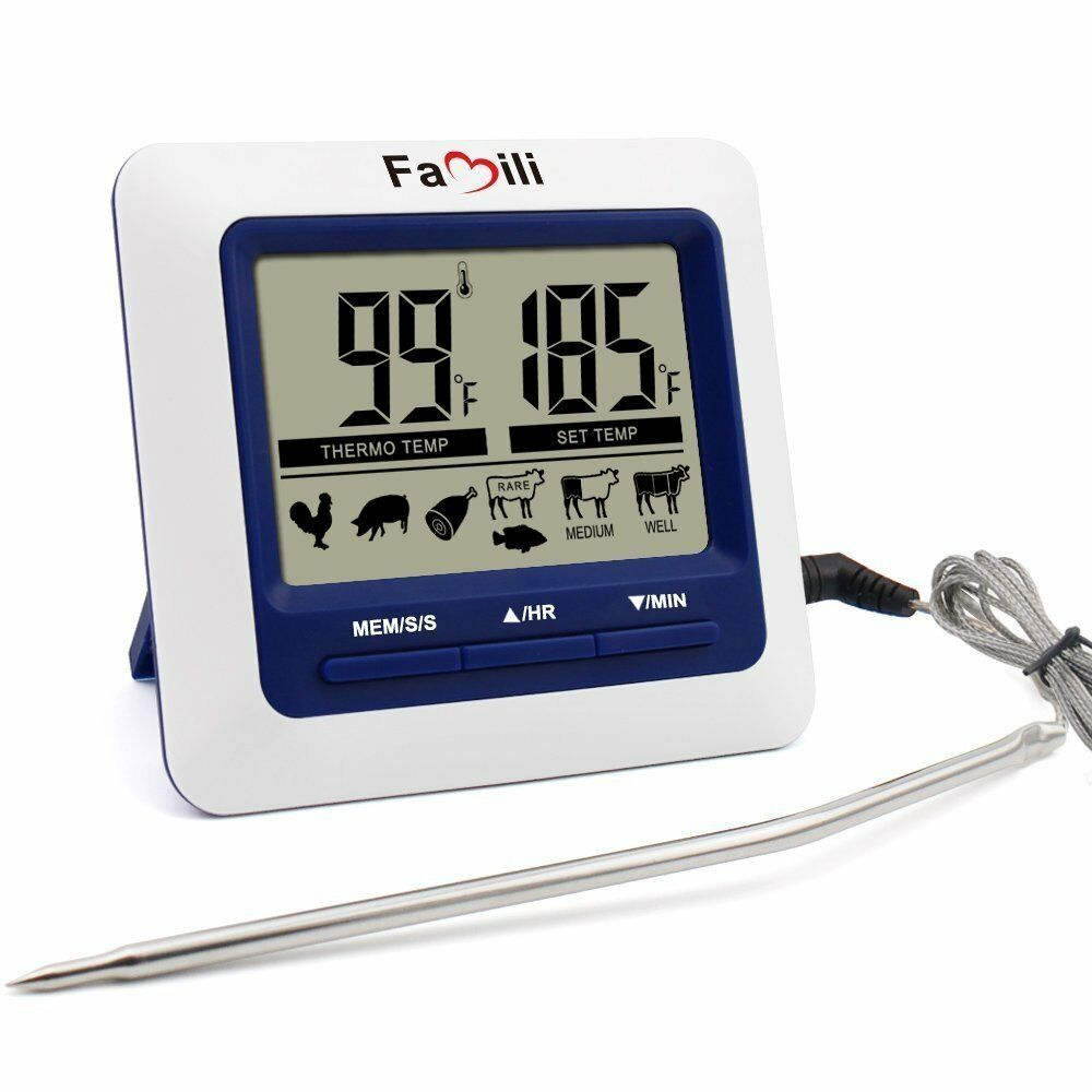 Famili Electric Digital LCD Kitchen Food Meat Alarm Probe Oven Thermometer Timer   eBay
