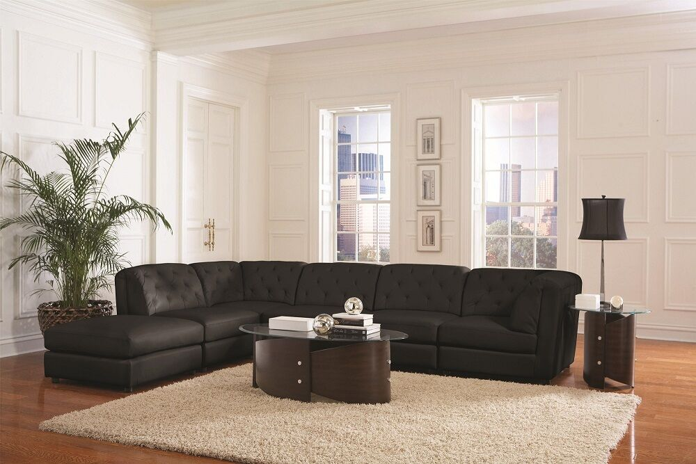 6 Piece Living Room Set Of Black Bonded Leather Transitional Modular 6 Piece