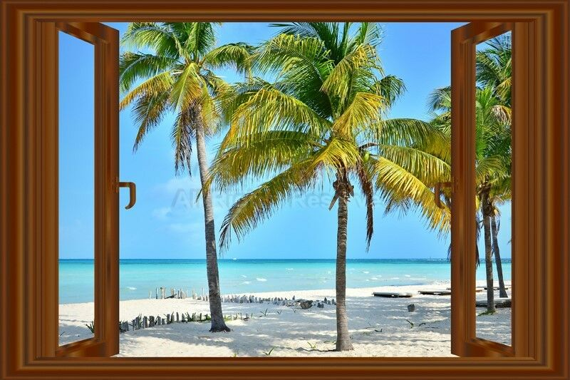 3d window decal wall sticker home decor beach palms view for Home decor 3d wallpaper