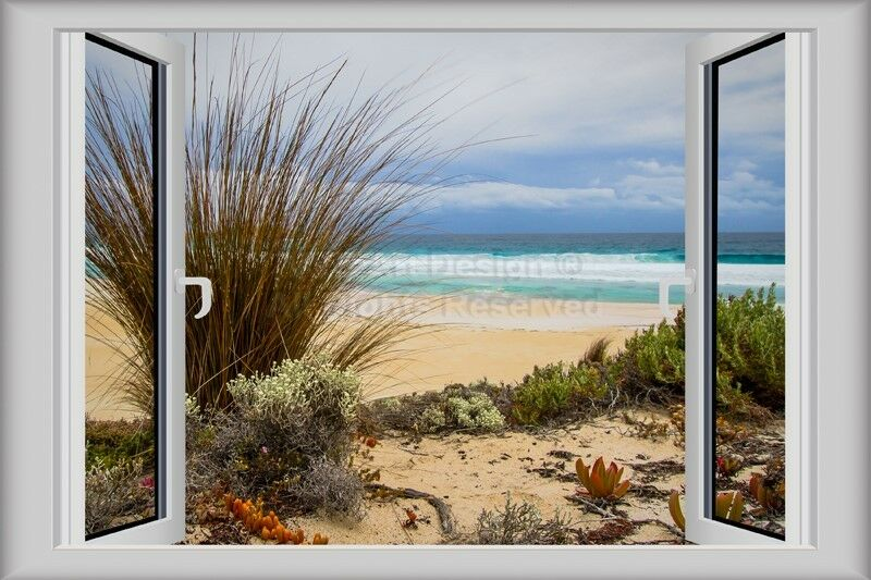 3d window decal wall sticker home decor nature beach view for Beach view wall mural