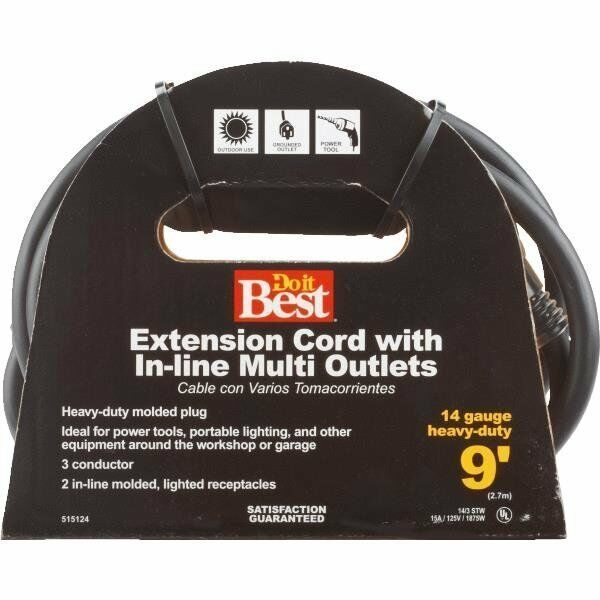 4 Pk 9 Multi Outlet Heavy Duty Extension Cord 14 3