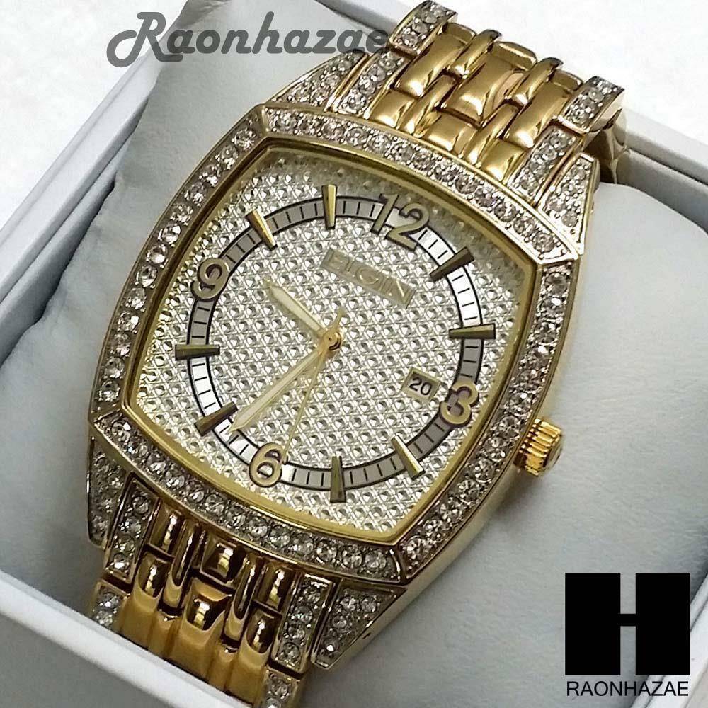 Hip hop luxury iced out elgin lab diamond pave wrist for Rapper watches