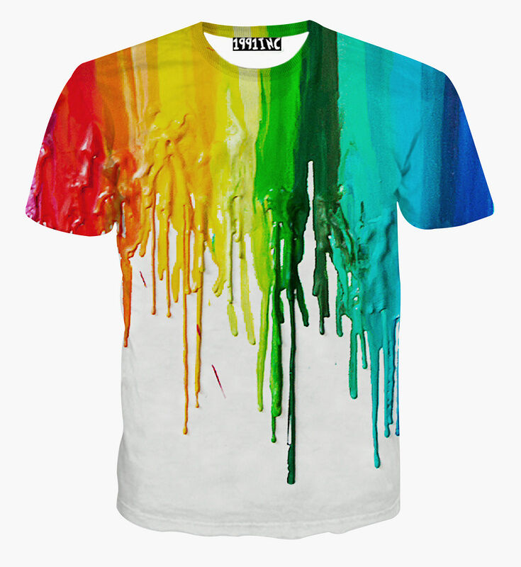 Fashion rainbow oil painting 3d print women men short for How to paint on t shirt