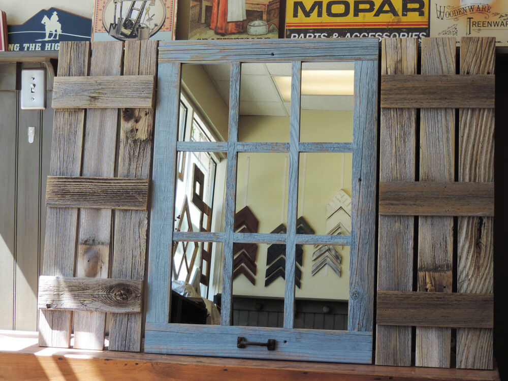 New rustic farmhouse reclaimed barn wood shutters for 9 Window pane mirror