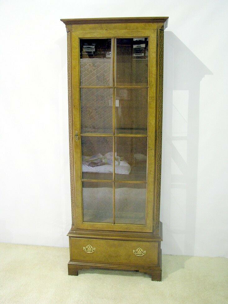 Vintage Baker Furniture Chinese Chippendale Display Cabinet Over One Drawer Ebay