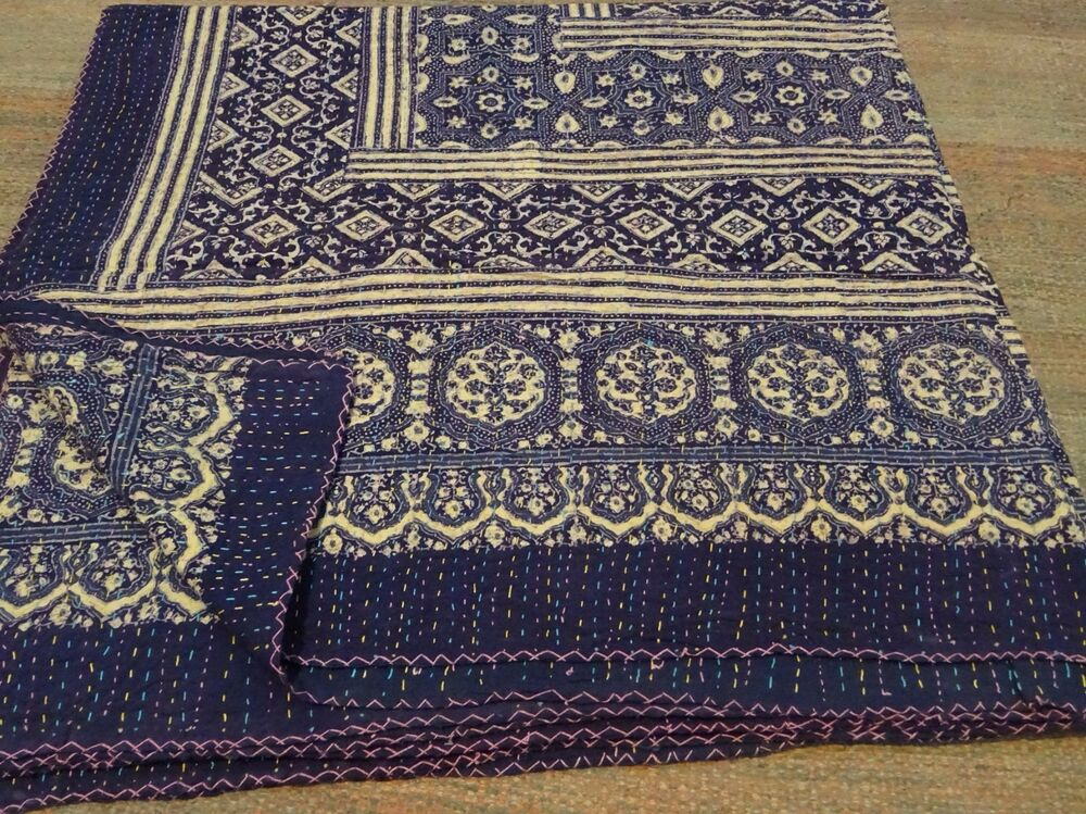 king beautiful kantha king size quilts throw blanket reversible quilt 008 ebay. Black Bedroom Furniture Sets. Home Design Ideas