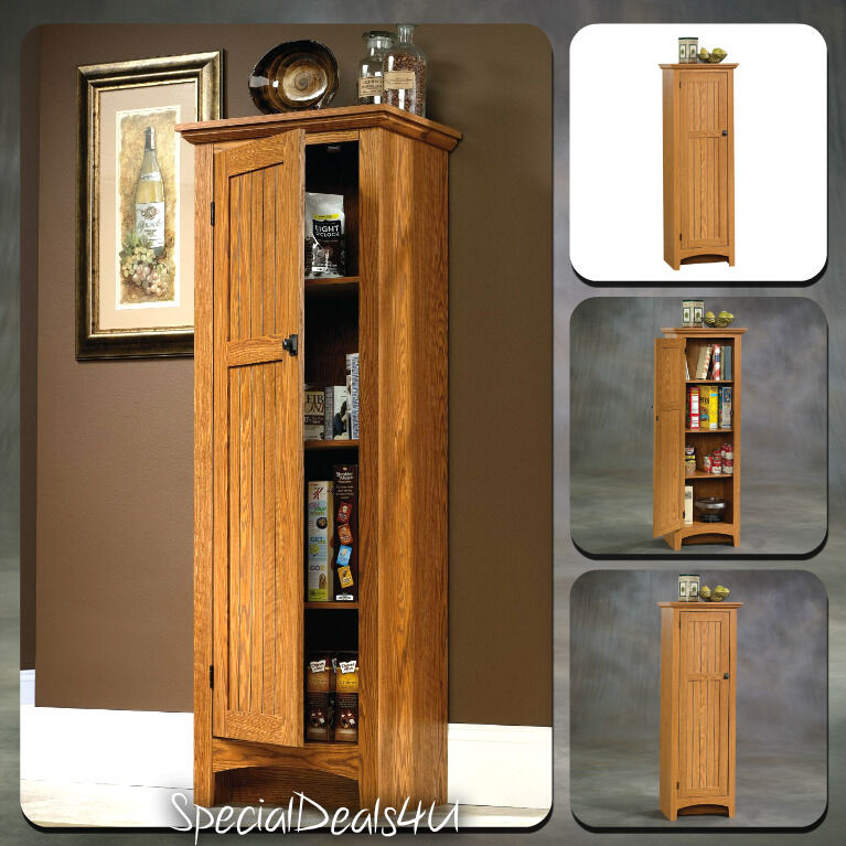 Kitchen storage cabinet pantry organizer tall cupboard food storage shelf wood ebay - Bathroom pantry cabinets ...