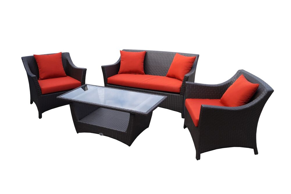 rattan lounge set braun aus polyrattan gartenm bel. Black Bedroom Furniture Sets. Home Design Ideas