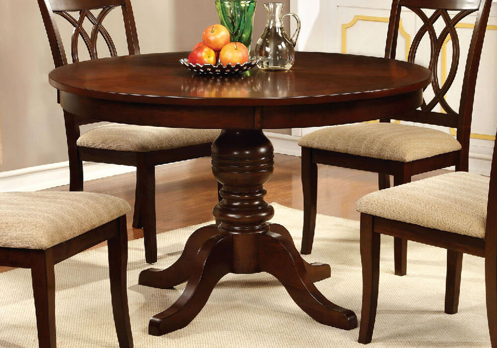 carlisle country 48 d round pedestal dining table solid wood in brown cherry ebay. Black Bedroom Furniture Sets. Home Design Ideas