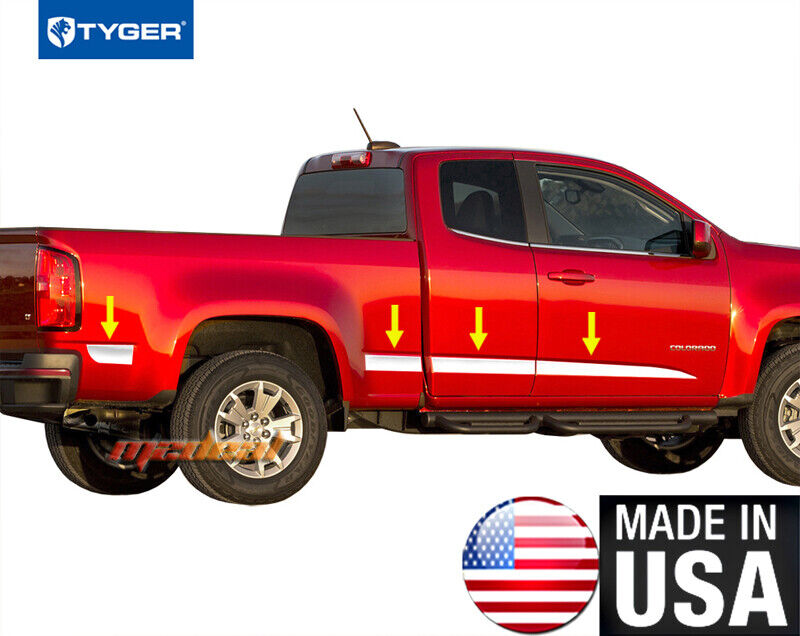 Tacoma Access Cab >> TYGER Fits 15-2016 Chevy Colorado Ext Cab Long Bed Angled Body Side Molding 8PC | eBay