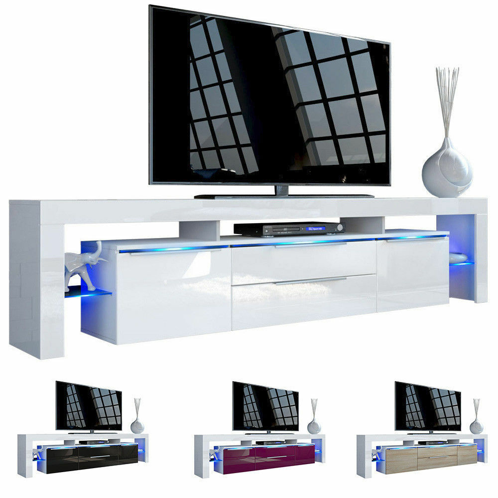 White high gloss modern tv stand unit media entertainment for Contemporary tv media units