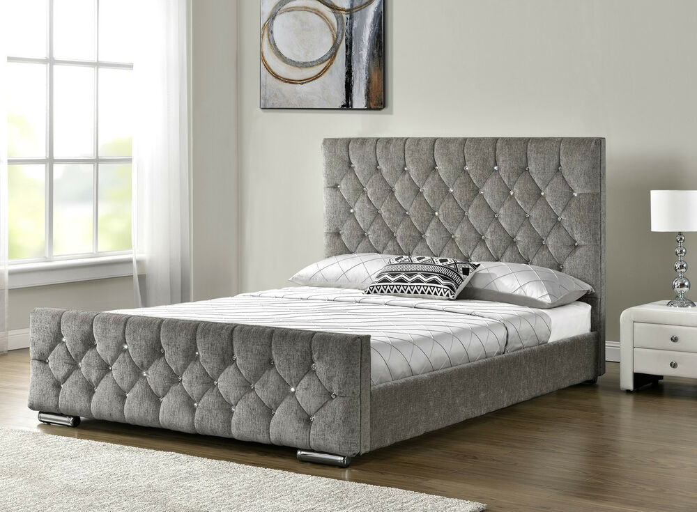 Diamond upholstered fabric bed frame velvet chenille double king size mattress ebay Bed with mattress