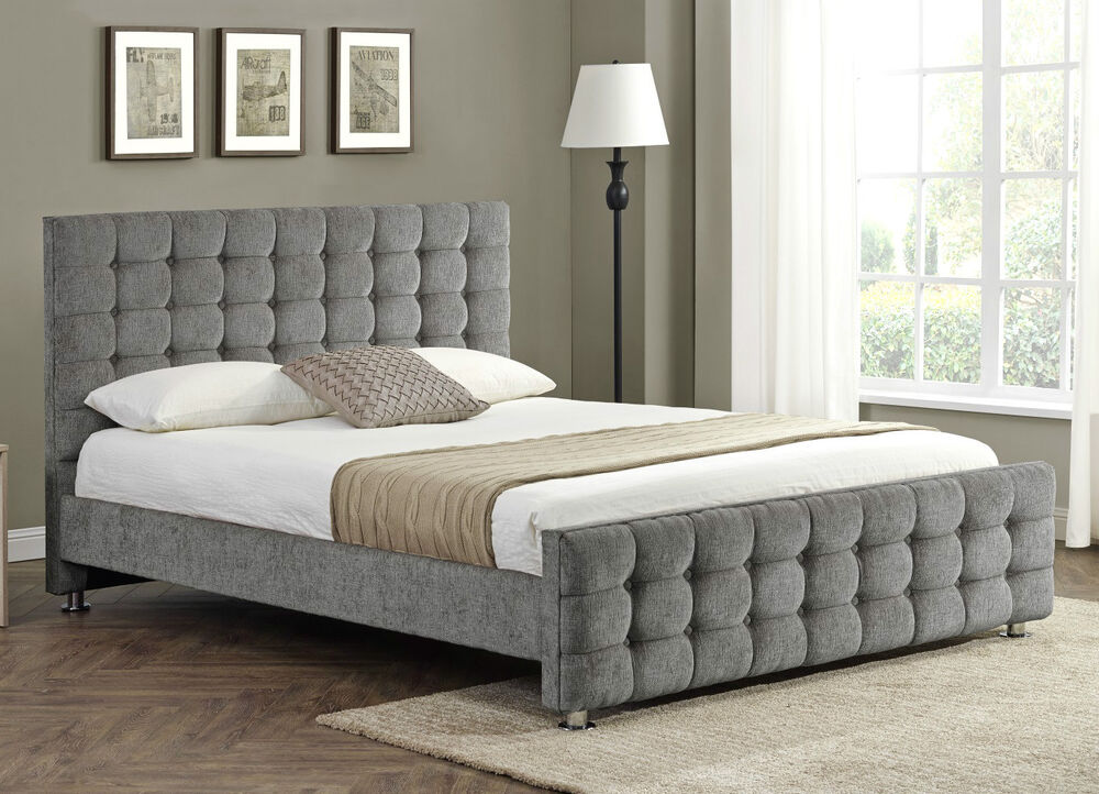 Diamante upholstered fabric bed frame velvet chenille for Divan bed frame king
