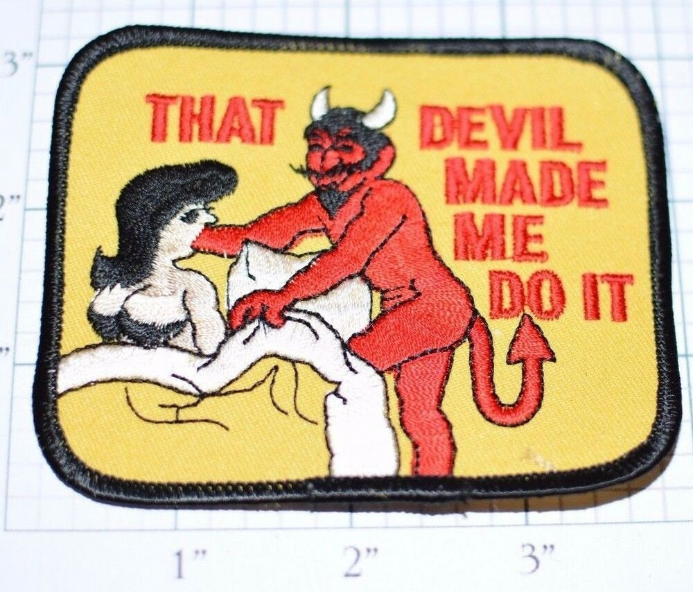 Devil made me do it funny vintage iron on embroidered