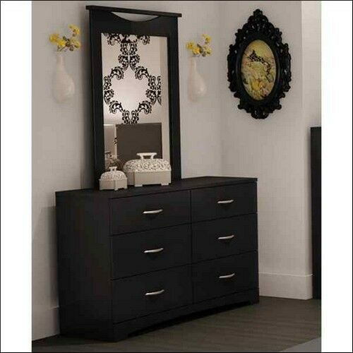 black dresser set 6 drawer dresser and mirror furniture set 2 storage 10857
