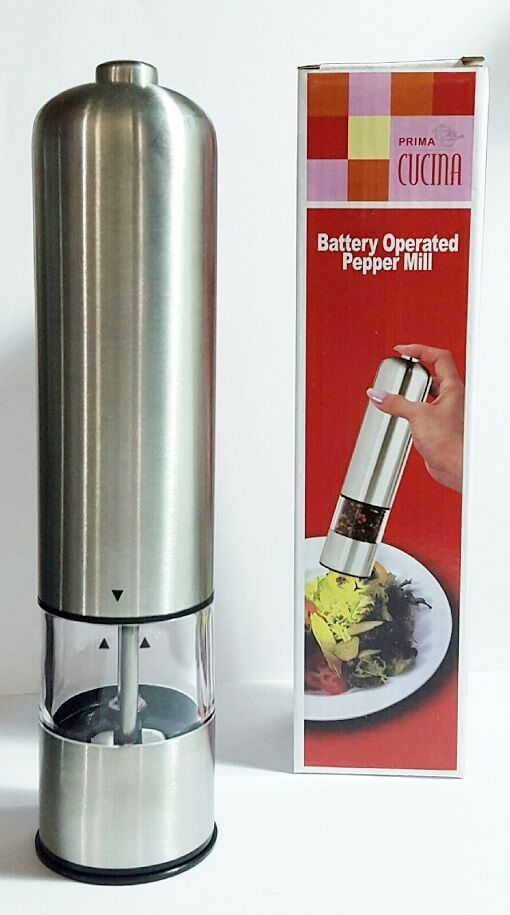 Battery Powered Grinder ~ Battery operated stainless steel salt coarse spice pepper
