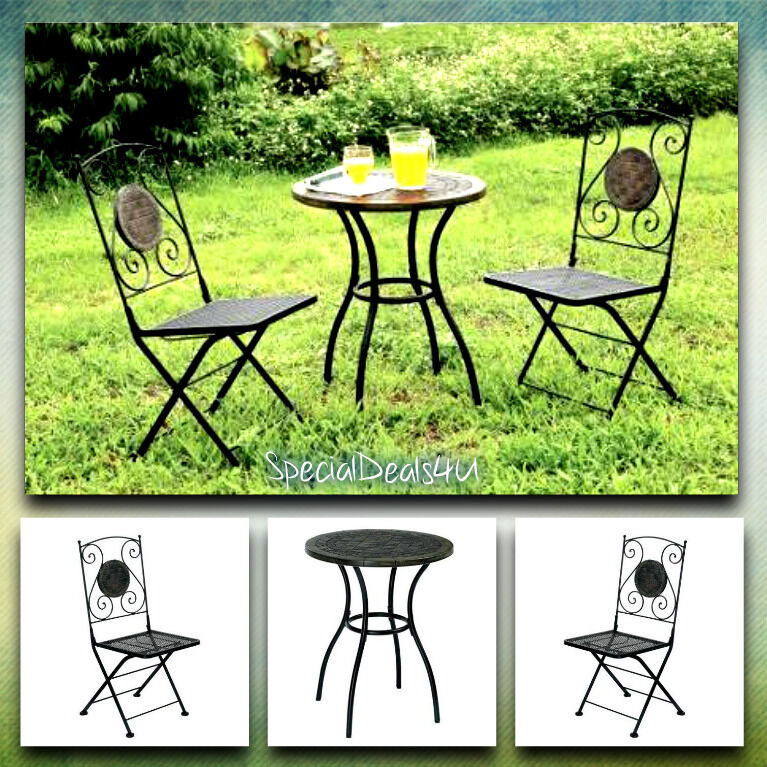 Outdoor Iron Table And Chair Set: Bistro Patio Set Outdoor Furniture Vintage Table Chair