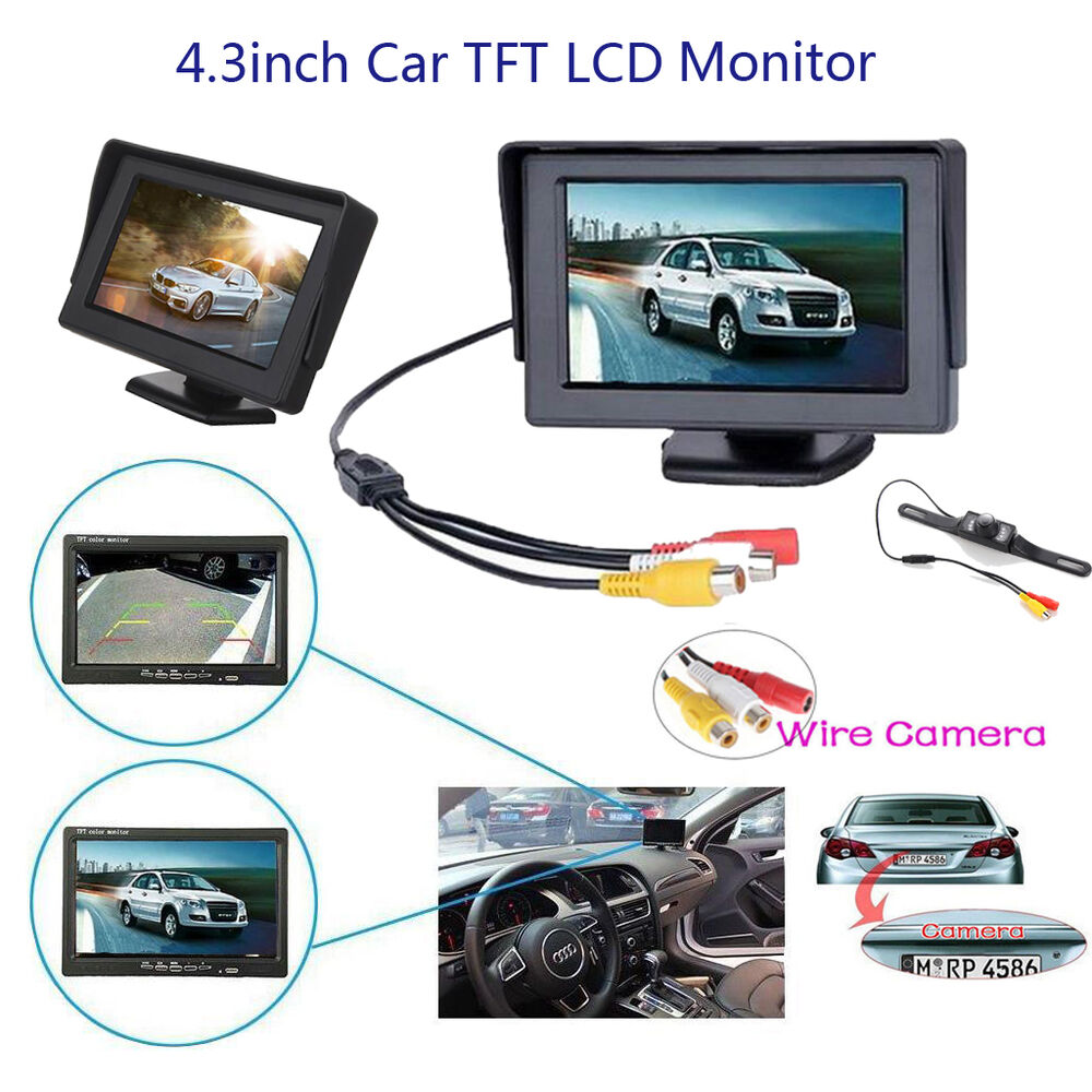 4 3 tft lcd monitor wire car ir led backup camera rear. Black Bedroom Furniture Sets. Home Design Ideas