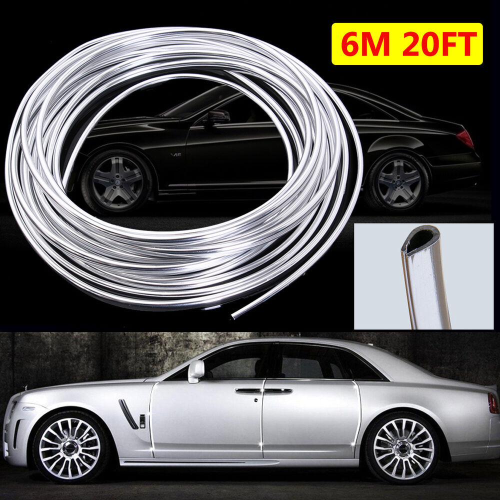 20ft 6m chrome moulding trim strip car door edge scratch guard protector cover ebay. Black Bedroom Furniture Sets. Home Design Ideas